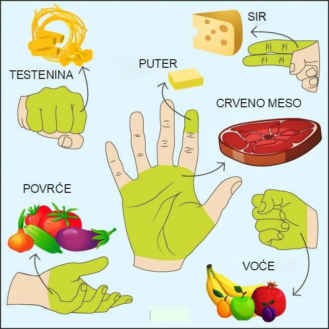 Zdrava hrana - Koliko hrane treba unositi za jedan obrok: objašnjavamo pomoću šake.